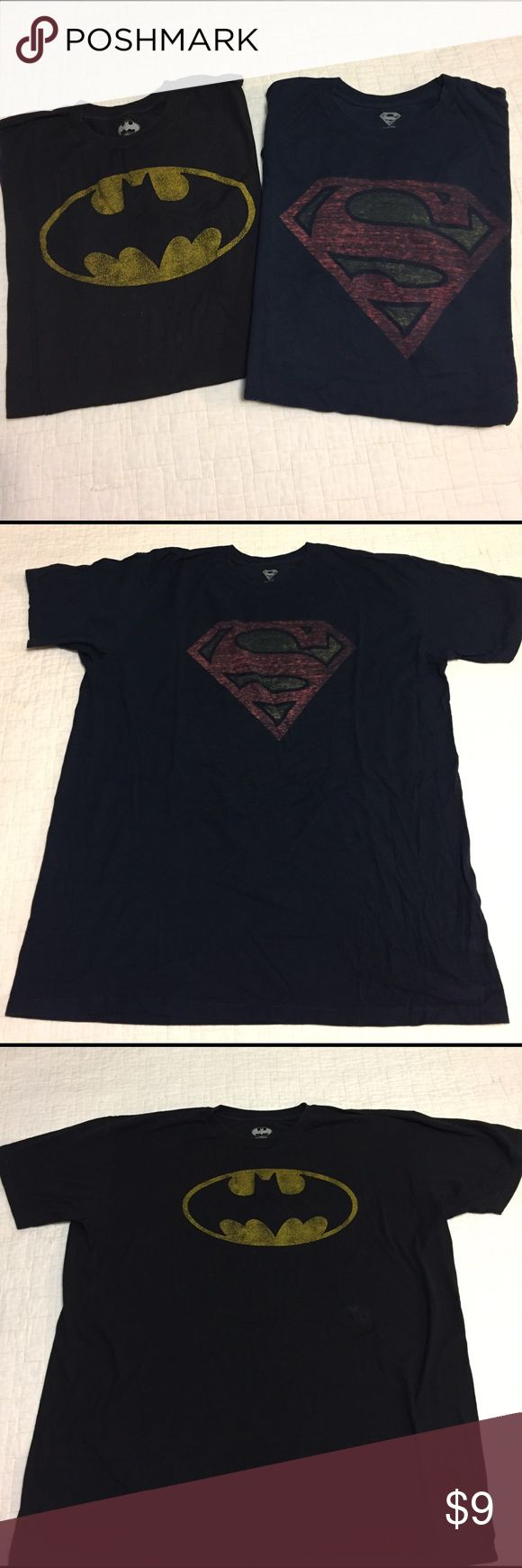 Two Men's XL t shirts. Batman and Superman. Batman and Superman men's t shirts. In great condition. Batman t shirt has small stain will come off. Shirts Tees - Short Sleeve