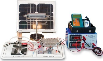 ED-9740 Fuel Cell Trainer For Students.  Understand the conception and principal of fuel cell generation.    Fuel cell generation using photovoltaic.  Complete disassembly and assembly of the fuel cell.  Current and voltage measurement for PEM Fuel Cell Stack according to each of Cell.  Power production experiment using PEM Fuel cell.  Modularized of the processes covering electrical dissolution of water and drive of fuel cell...etc.