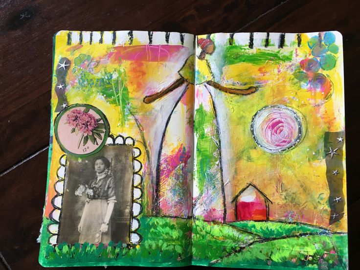 Untitled mixed media art journal spread by  Sharon Harkness-Dobler
