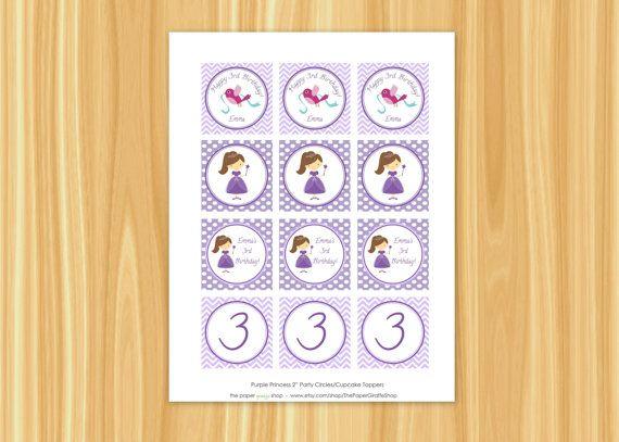 Personalizzato stampabile principessa viola (viola partito) da 2 pollici compleanno Party cerchi/Cupcake Toppers