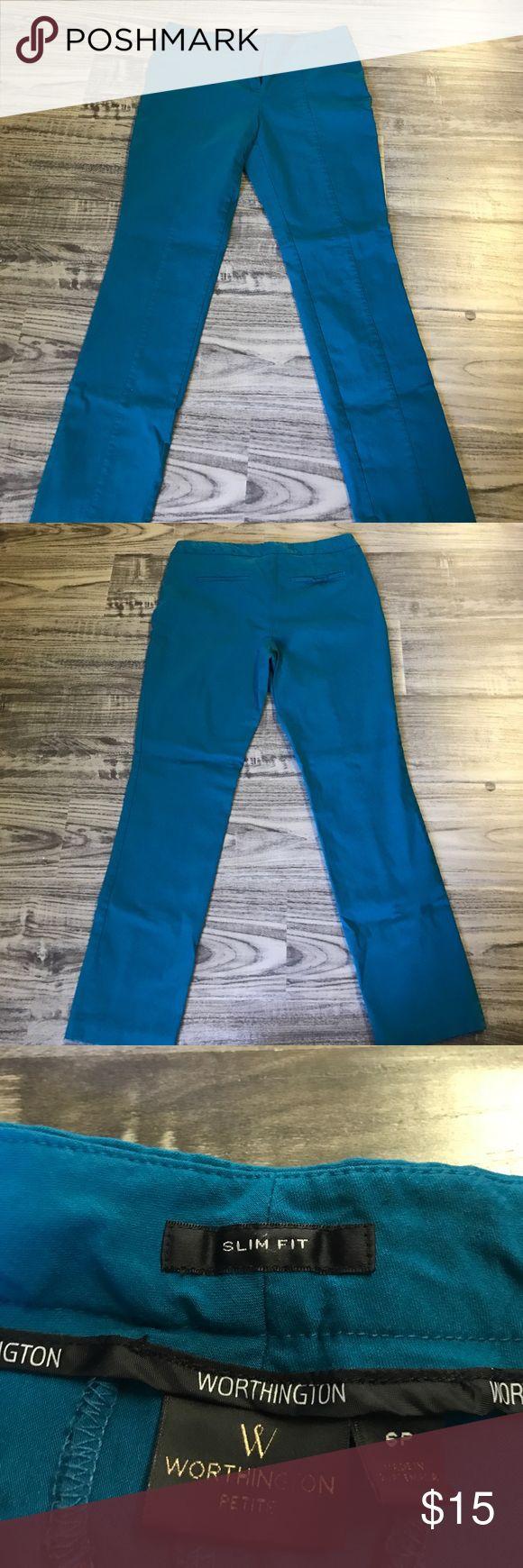 Worthington slim fit dress pants Teal Worthington slim fit dress pants size 6 Petite. Like new condition. Worthington Pants Straight Leg