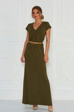 Jednoduché a pritom štýlové maxi šaty s V výstrihom, krátkym rukávom ku ktorým si môžete dopasovať opasok, vhodné na každodenné nosenie.