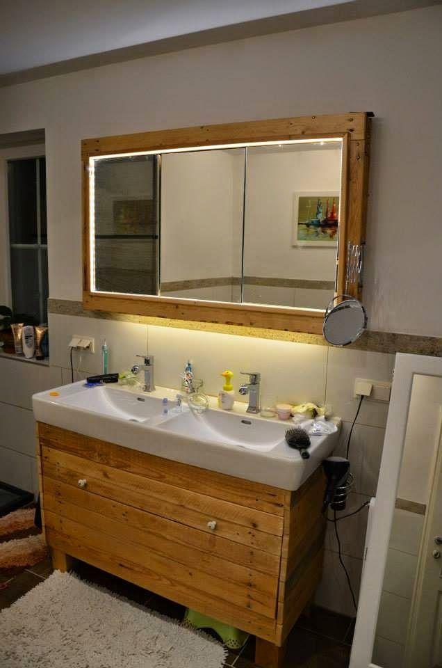 Muebles de palets mueble para el lavamanos y espejo - Muebles para lavamanos ...