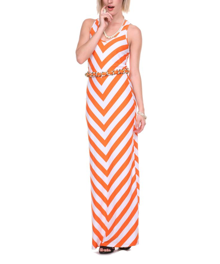 Orange & White Chevron Belted Maxi Dress - Women