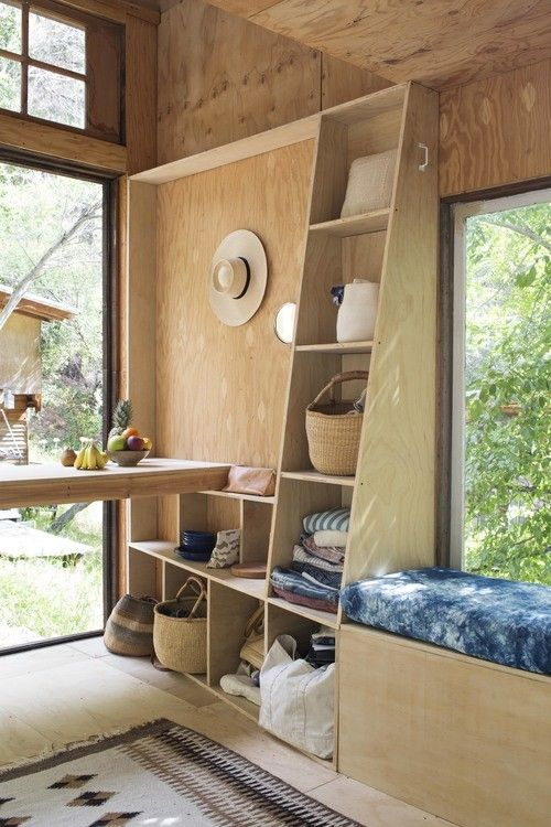 A Bohemian Surf Shack in Topanga Canyon. Plywood showing it's beauty and strength.