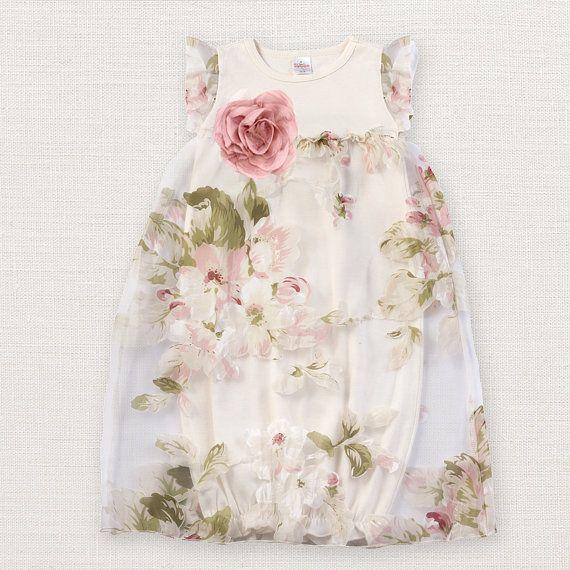 Baby Girl Easter Gown, Organza Flutter Sleeve Baby Gown, Ivory Baby Spring Fancy Gown, Baby Girl, TrufflesRuffles, Truffles Ruffles