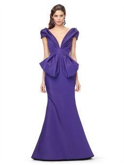 DEEP-V GOWN WITH PEPLUM