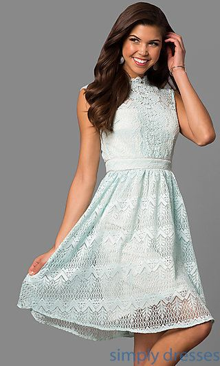 Shop sleeveless short lace party dresses at Simply Dresses. Cheap semi-formal dresses under $100 with high-neck bodices and knee-length skirts.