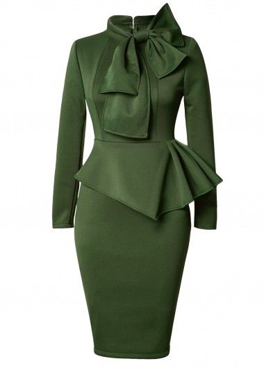 Long Sleeve Bowknot Embellished Peplum Waist Dress