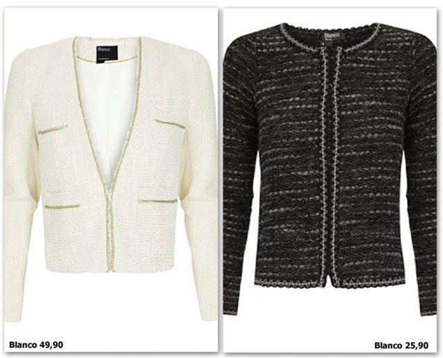 Chaqueta estilo Chanel: Blanco