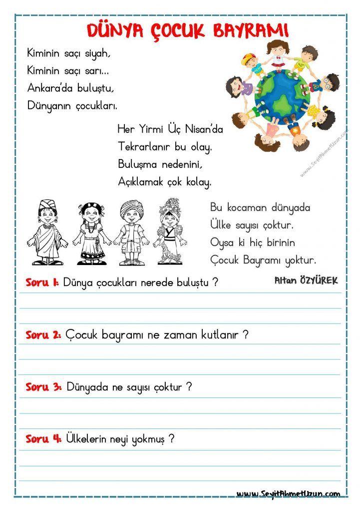 Okuma Anlama Siir Dunya Cocuk Bayrami Seyit Ahmet Uzun