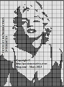 Free Marilyn Monroe cross stitch chart #stitching #people