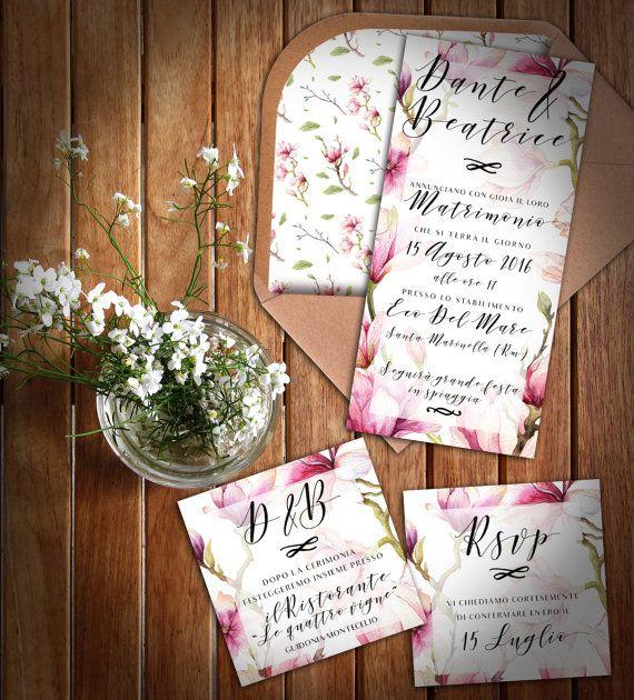 Kit inviti di nozze Magnolia  Partecipazione di di GraphoMela