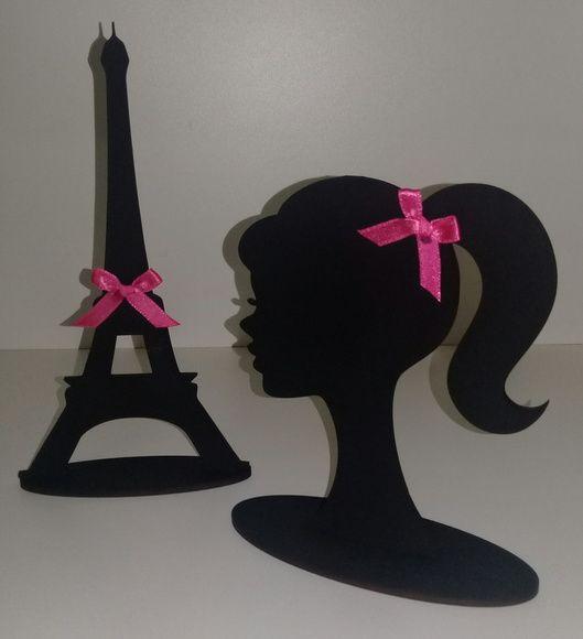 silhueta da Barbie + torre Eiffel mdf para decoração de mesa, com pintura Preta e laço de cetim.