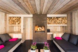 Overdekt terras met lounge en open haard steigerhout vakantiewoning in knokke te huur ook per - Deco lounge hout ...