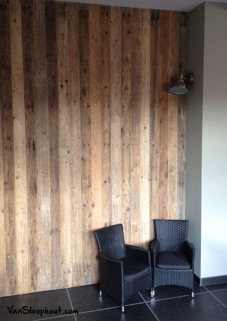 Warme look door wand / muur van sloophout #warm #gezellig #knus #woonkamer #muur #wand #hout #sloophout