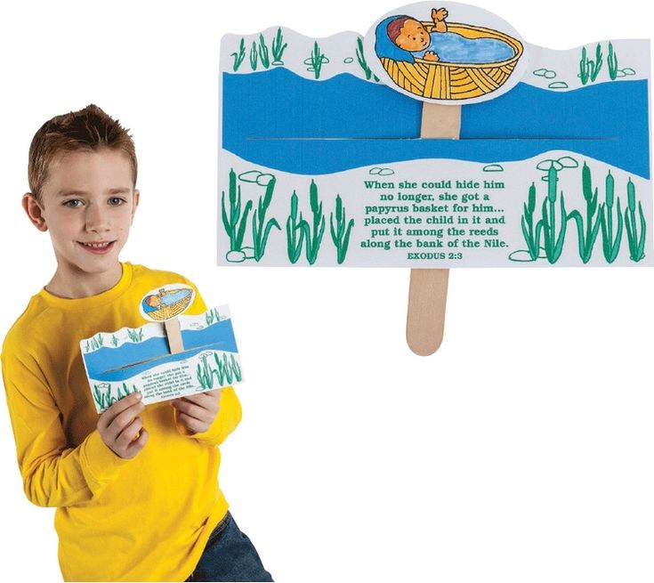Children can help carry out God's plan by sending Moses down the Nile in a basket to save him from Pharaoh. A great way to teach one of the most popular bible stories. Kids can repeat his journey again and again! Includes: preprinted and preslit cardboard bases, ready-to-color baby Moses (3
