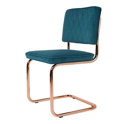 Stoel Diamond van Zuiver is een klassieke buisframe stoel in super moderne koper look!  Materiaal: 100% polyester, frame verkoperd staal Maximaal draaggewicht: 120 KG