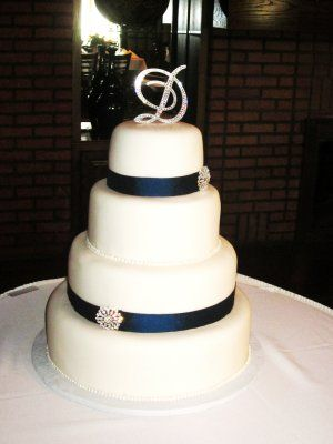 Wedding Cake With Navy Blue Ribbon