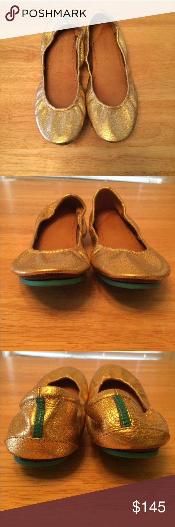Golden Glitz Tieks Size 8 Golden Glitz size 8 Tieks. Bought used & worn once for my wedding. Up to trade for Black or Brown size 8 or For sale. Tieks Shoes Flats & Loafers