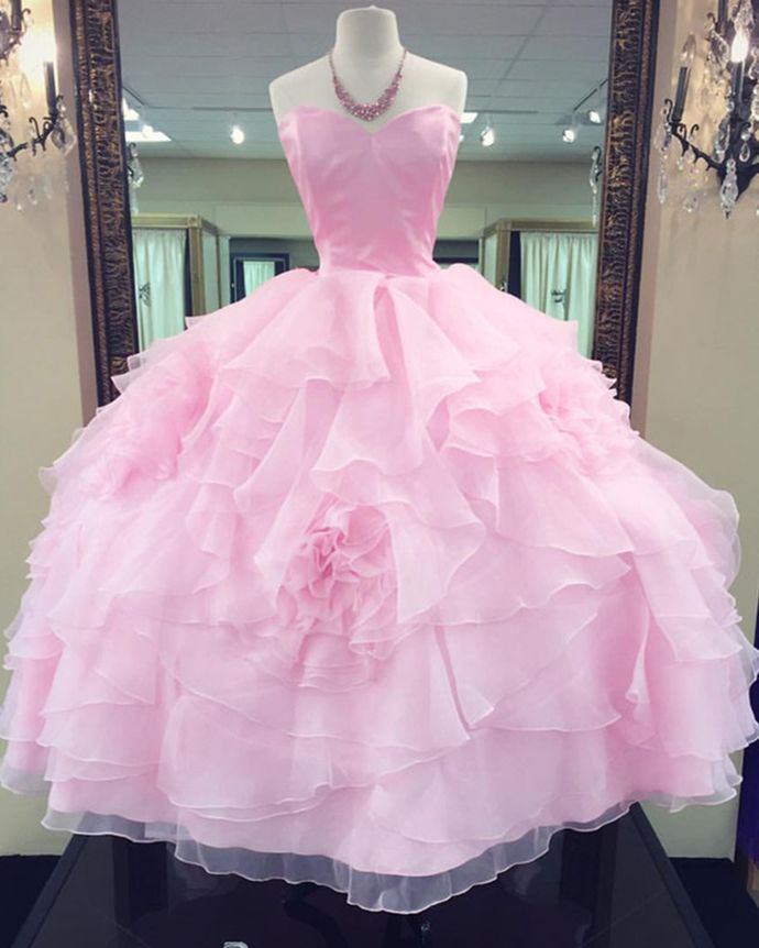 23baa20ad Princess pink tulle long ball gown, pink strapless formal prom dresses in  2019 | Preciosos vestidos | Prom dresses, Ball gowns, Gowns
