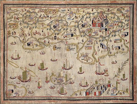 Forts Zeelandia and Provintia and the City of Tainan Unidentified Artist  Date: 19th century, China Framed wall hanging; ink and color on deerskin