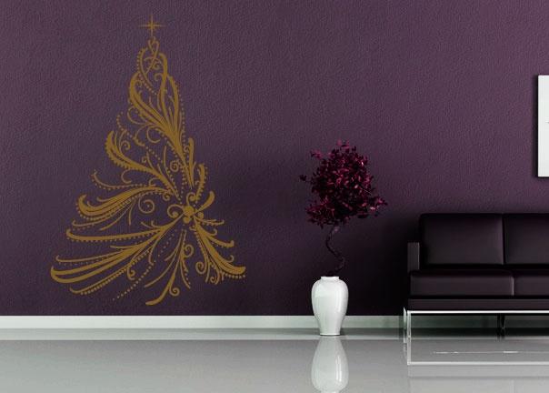 Pour jouer la carte du design ou épater vos convives lors des fêtes de fin dannée voici un sticker mural sapin de noël qui habillera votre intérieur de sa