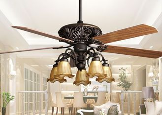 China Retro Ceiling Fan Light Fixtures , Home Decorative Rustic Ceiling Fans With Lights supplier