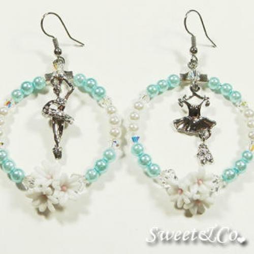 Ballerina Blue Pearl Hoop Silver Earrings