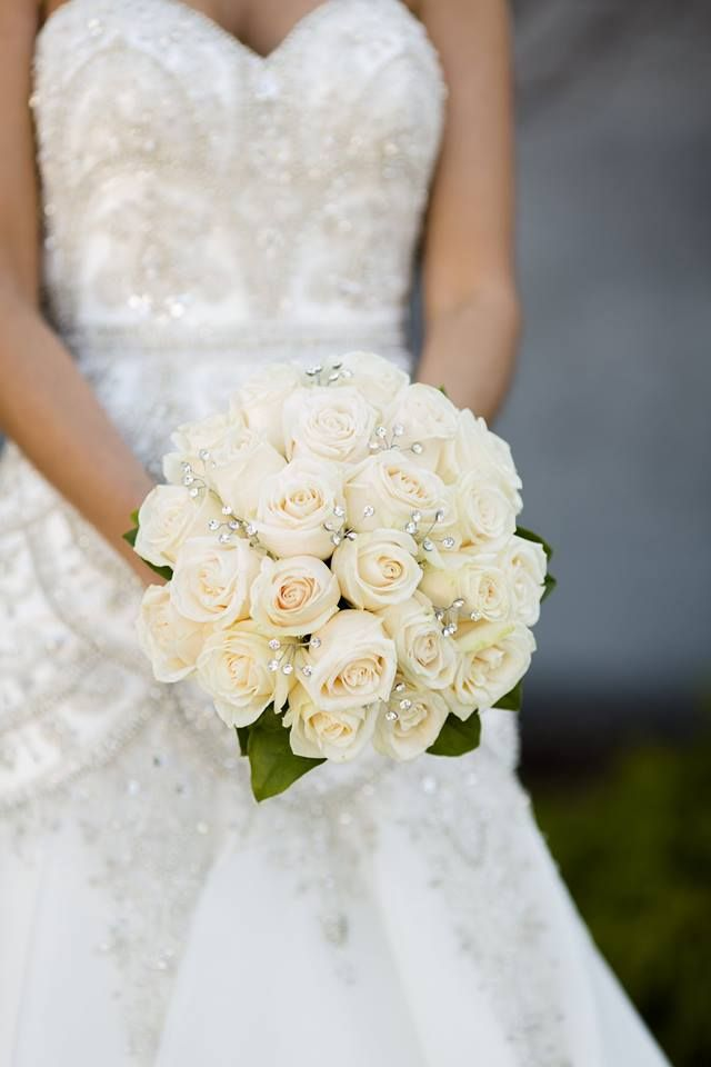 Classic Bridal Bouquet Designed With Vendela Roses And Crystals