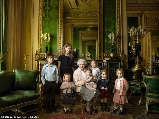 Queen Elizabeth and her Grandchildren. Photo shoot to commemorate her 90 th birthday.