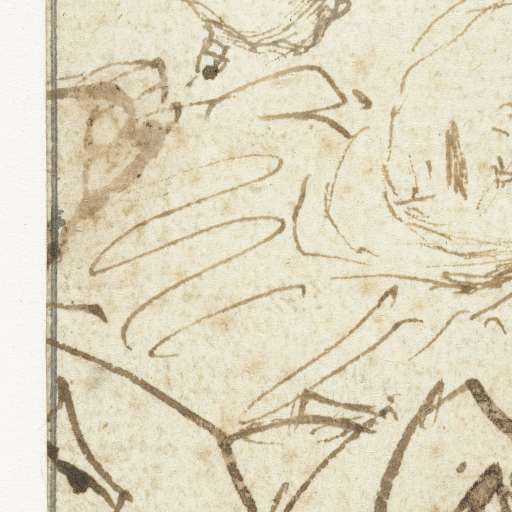Hoofd van een slapend meisje en een jongenskop van opzij, Rembrandt Harmensz. van Rijn (school of), 1635 - 1642 - Rembrandt-Collected Works of Geertruida M.P. Brouwer - All Rijksstudio's - Rijksstudio - Rijksmuseum
