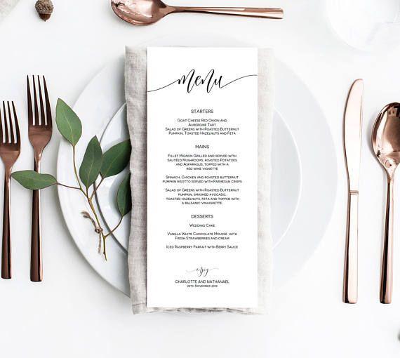 Wedding Menu Template Editable Wedding Menu Printable Rustic