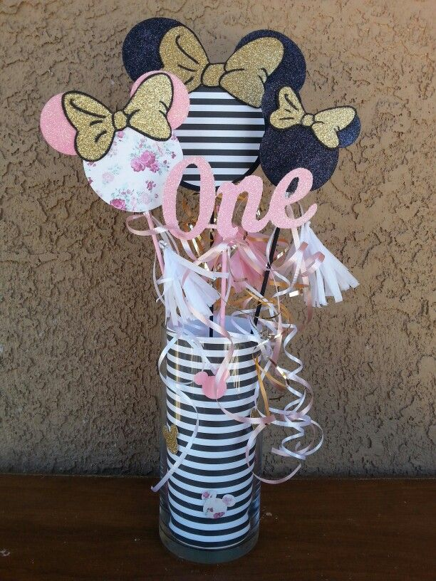 Floral black and white stipes Minnie Mouse first birthday party table centerpieces custom pink black white  gold Minnie Mouse theme party
