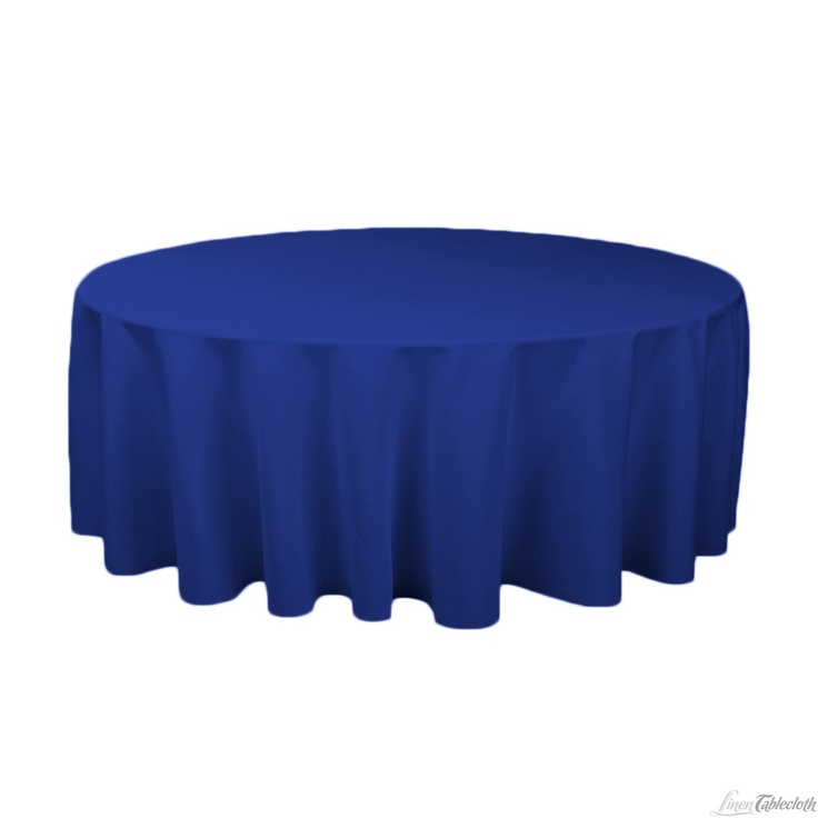 132 In Round Polyester Tablecloth Royal Blue At