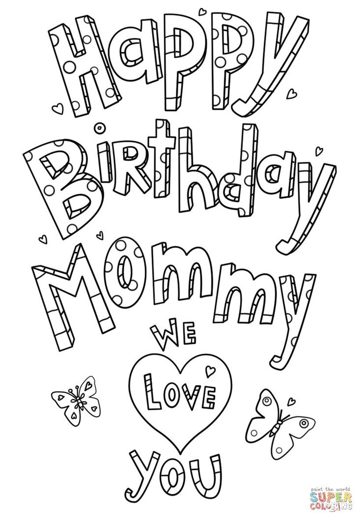 Mom Coloring Pages Happy Birthday Mommy Doodle Coloring