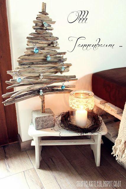 DIY Weihnachtsbaum für das Schlafzimmer. Passt auf den Nachtschrank.>> s'Bastelkistle: Ohhh Tannenbaum ...