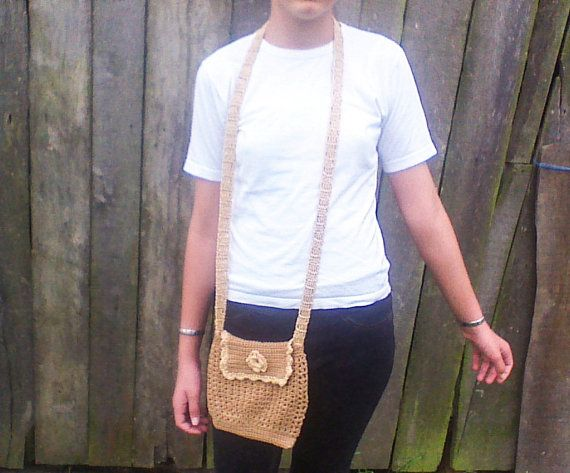 Mustard cotton crochet purse small purse shoulder by HandmadeTrend