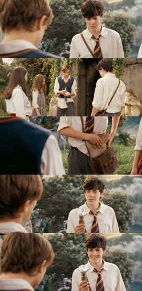 I love how he just waits, letting Peter rip his own shirt. And Edmund's face at the ends always makes me smile.