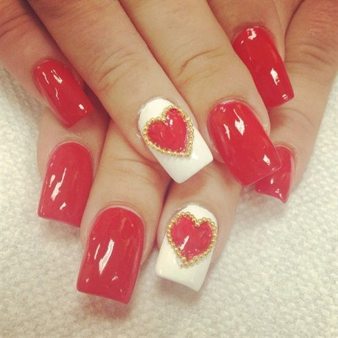 64 best valentine nails images on pinterest crafts el amor and valentine nail art gallery red hart for valentines day by zitianzhang nail art gallery prinsesfo Images