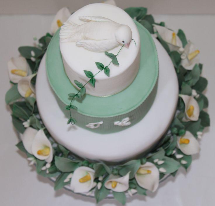 Torta Prima Comunione - calle - colomba della pace - le dolci creazioni di Camilla Jesholt Buffatti