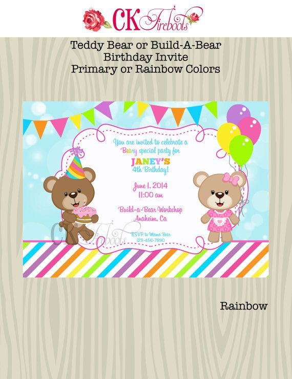 33 best Bear Bears Bear Birthday Party images – Build a Bear Invitations Birthday