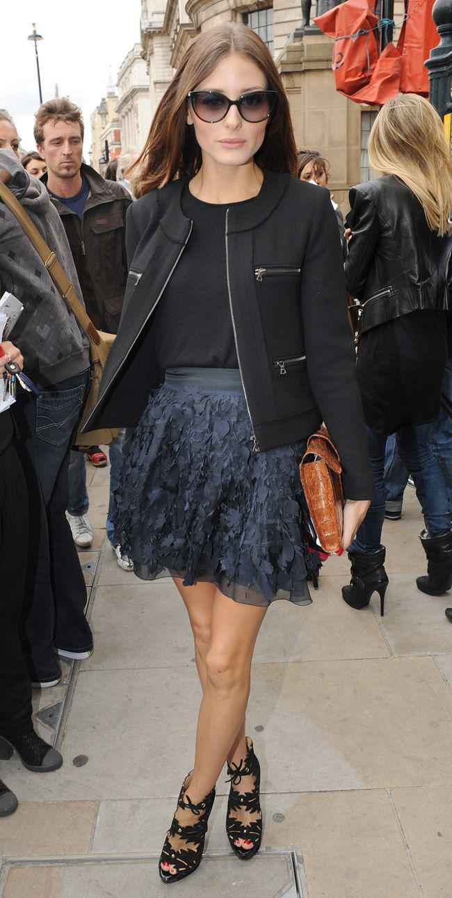 Olivia Palermo style - Daine von Furstenberg skirt, Frank Tell jacket, Dior sunglasses, Charlotte Olympia shoes