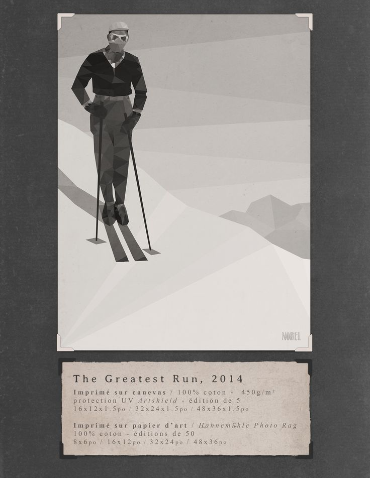 The Greatest Run, 2014. 48x36in. #print on canvas & print on #Hahnemühle Photo Rag. Limited edition. #chic #shack #shabby #vintage #skier #ski #winter #mountain / Artist is Boris Nobel / Taken from his portfolio.