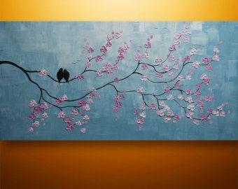 Αφηρημένη ζωγραφική, τέχνη, Ακρυλικό Ζωγραφική, Ζωγραφική, Πουλιά, ζωγραφική, ζωγραφική σε καμβά, Wall Art, Wall Decor, μοντέρνο, μεγάλο, Τέχνη από Gabriela