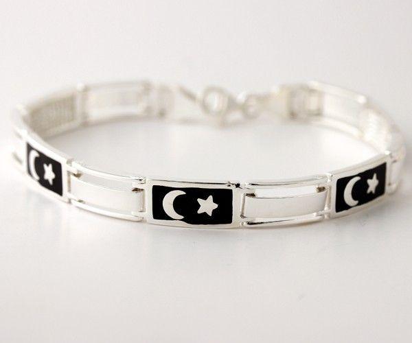 Ay yıldız modeli 925 ayar gümüş erkek bilekliği