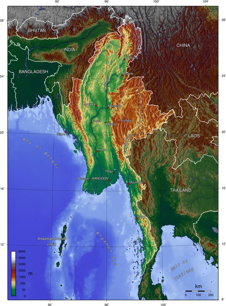 Map Of Bhutan In World Map%0A Topographic Map of Myanmar