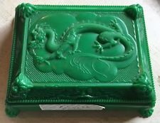 Cruver Cards Pinochle card set vintage Chicago Green Ornate Dragon Box Case