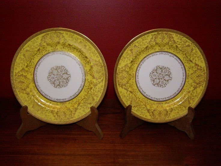 Antique Royal Doulton Pair of Gold & Yellow Border Decorated Plates - 1902-22
