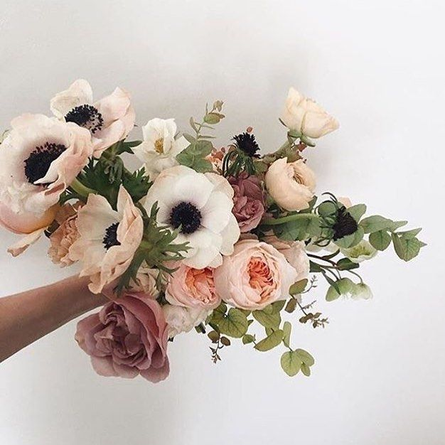 Did You Know Its Anemone Season Theyre The Big White Poppy Like Flowers In This Pic They Come In Different Flower Arrangements October Flowers Anemone Flower